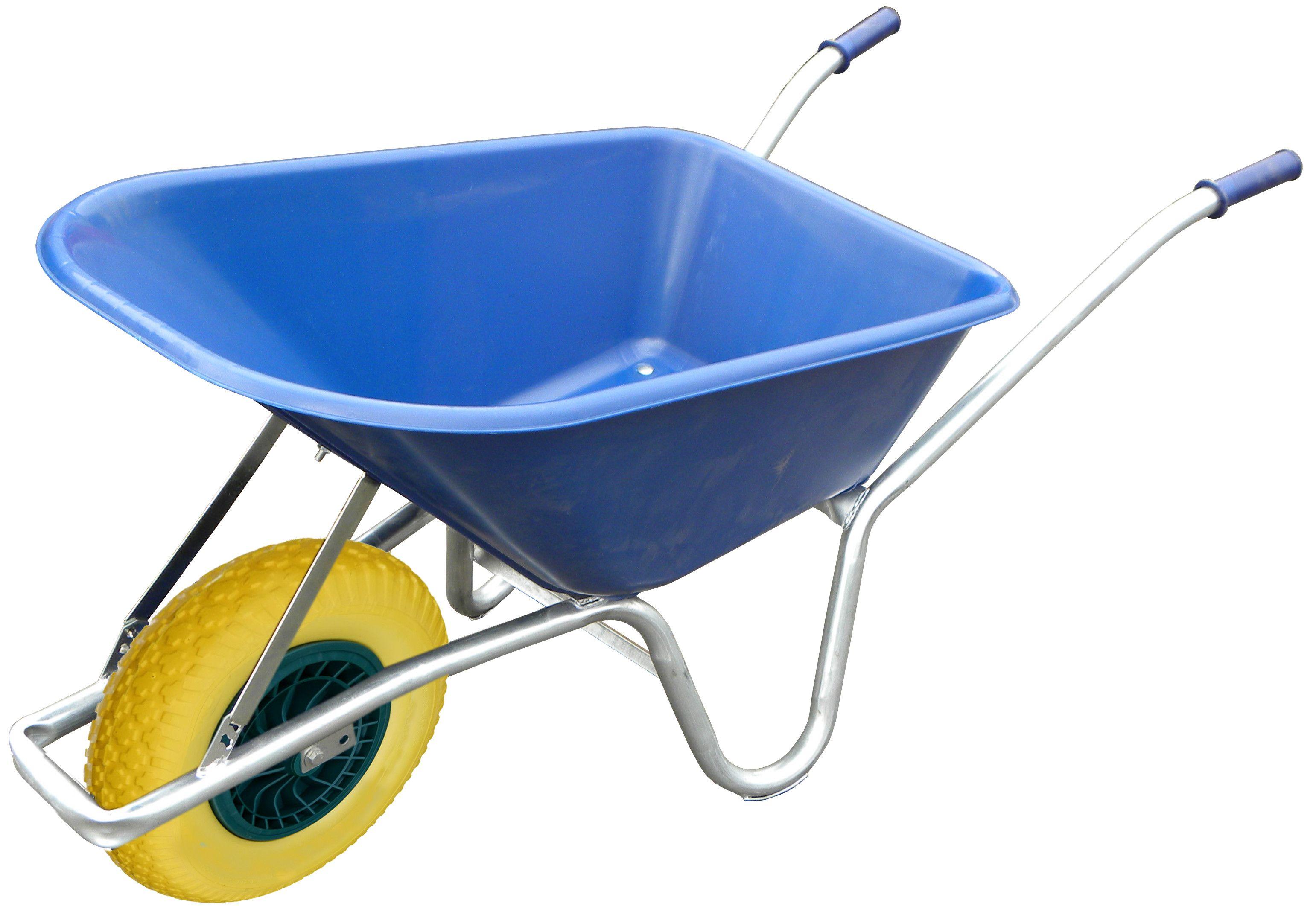 100L Blue Wheelbarrow With Flat Proof Wheel