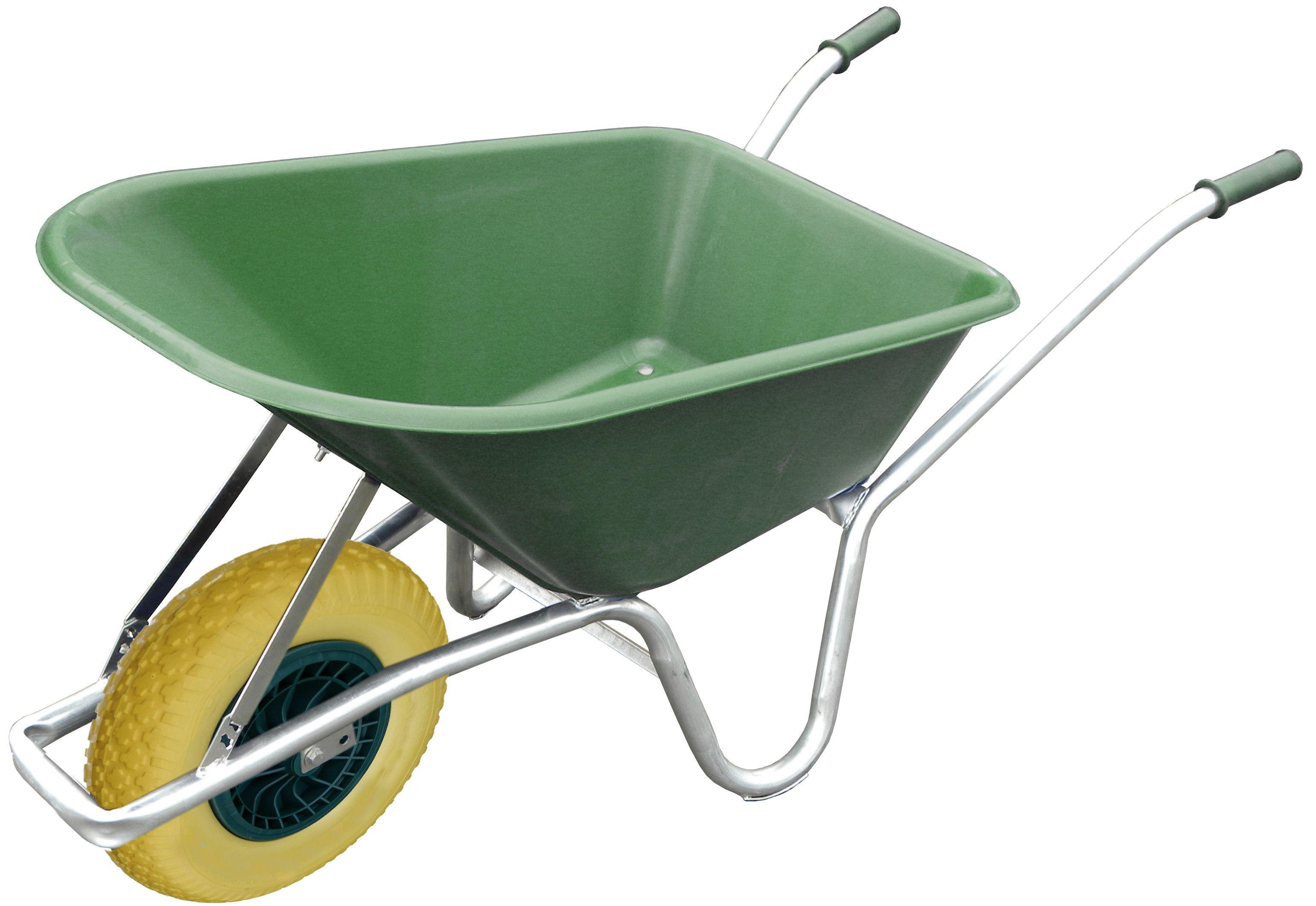 100L Green Wheelbarrow With Flat Proof Wheel