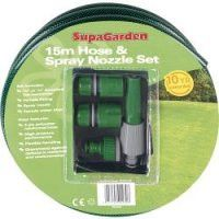 15m SupaGarden Hose & Spray Nozzle Set